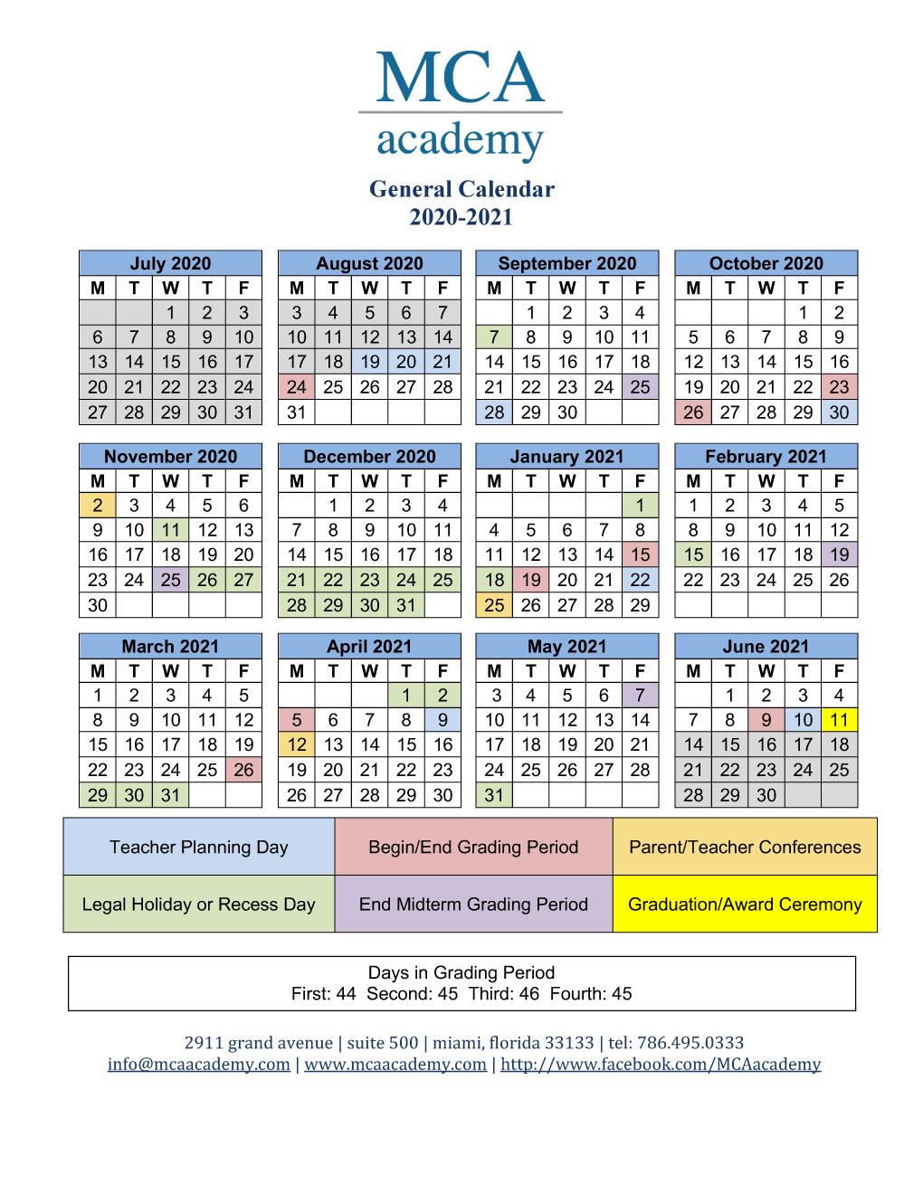 University Of Miami Spring 2022 Calendar.School Calendar 2020 2021 Mca Academy